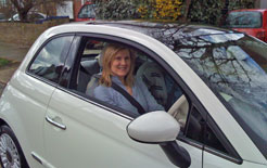 Alison Morton with her Fiat 500
