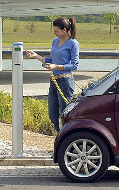 Electric smart car recharges