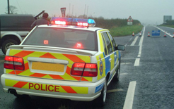 Northumbrian police at accident scene. Photo: www.freefoto.com