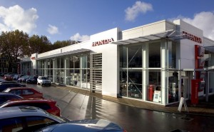 The Chiswick Honda dealership with 12-plate cars ready for the first of March