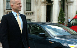 Foreign Secretary William Hague will no longer have the use of a ministerial car and will now have to use a governmental fleet pool car or public transport