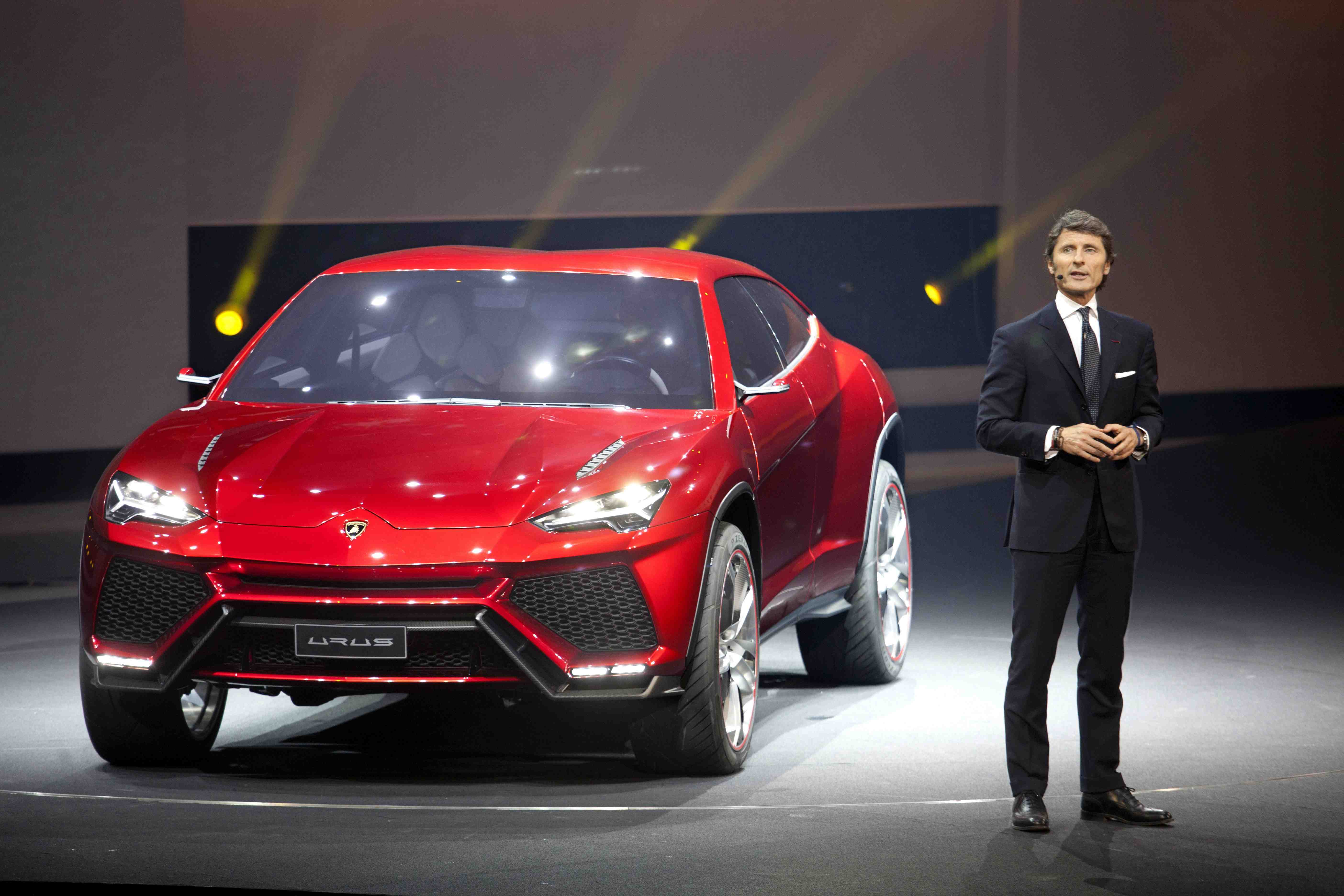 Lamborghini ceo Stephan Winkelman with the new Urus SUV concept