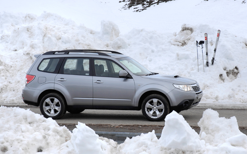 Driving to ski in a Subaru Forester