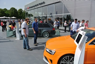 The line up of Audi RS models at the Goodwood Festival of Speed Audi stand
