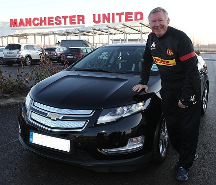 Sir Alex Ferguson with his Chevrolet Volt