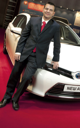 Neil Broad with the Toyota Auris featuring hybrid technology