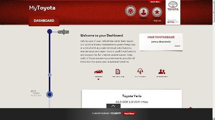 Start screen for the MyToyota online portal