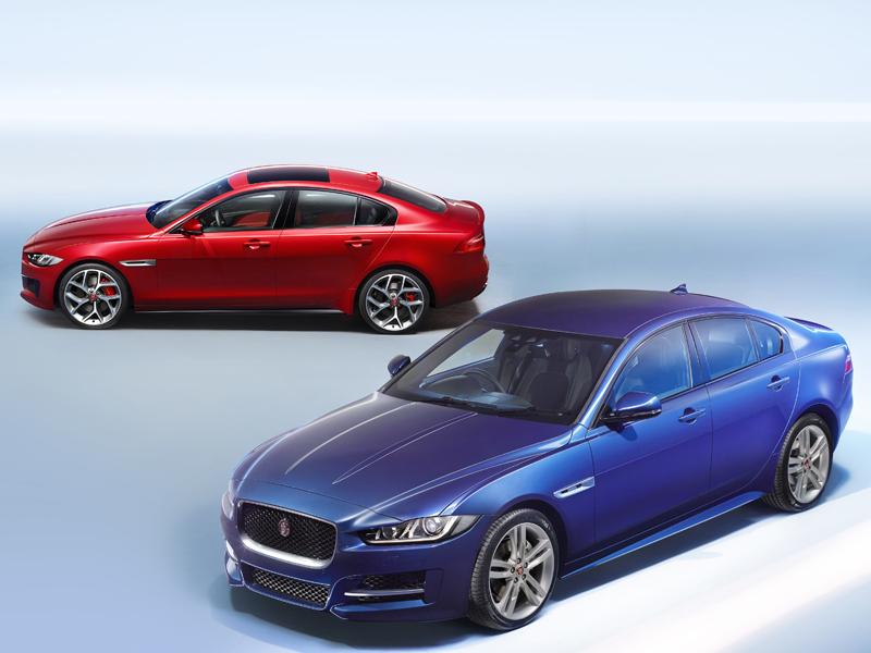 Jaguar, XE, range, red, blue, parked