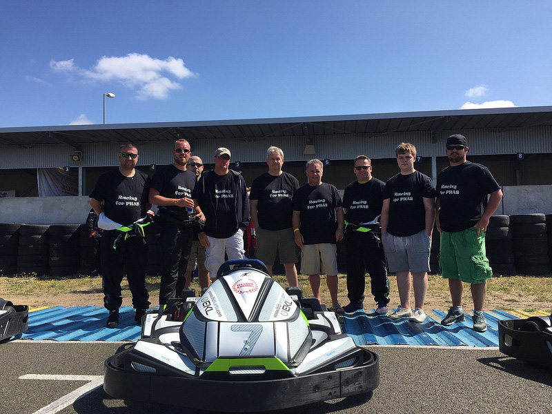 Mike Smith sixth from left with the Fleet Assist karting team and support staff