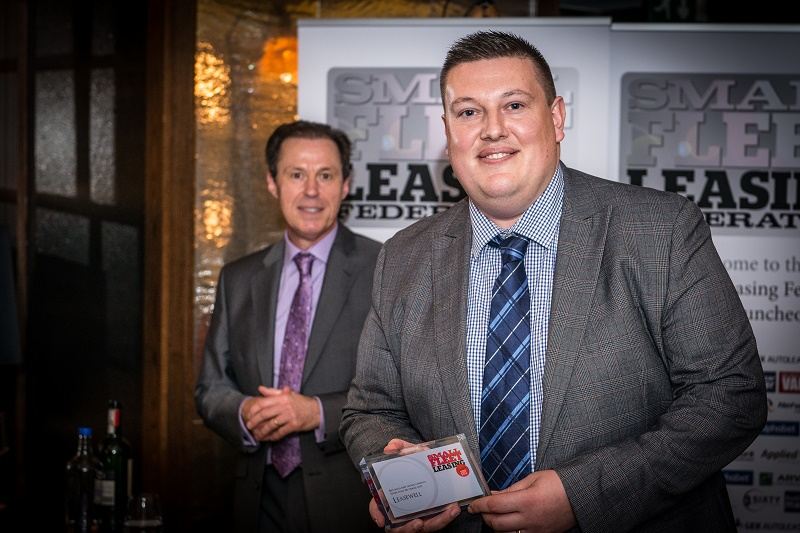 Ian Evans-Piper of Leasewell with the award for sub-250 fleet sales as Business Car Manager editor Ralph Morton conducts the ceremonies