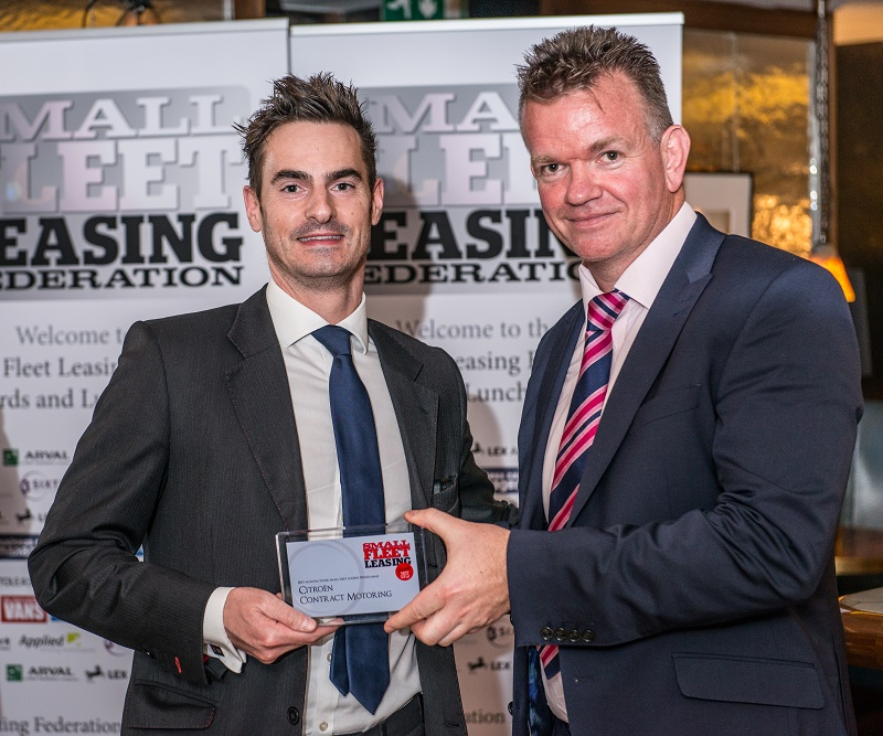 James Birch (left) of Citroen Contract Motoring Steve receives the best manufacturer leasing award from Steve Cox of Lex Autolease