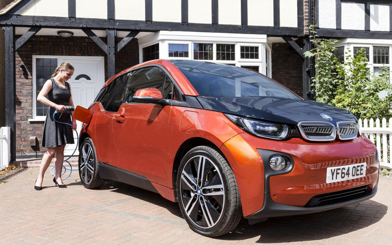BMW i3 being charged at home