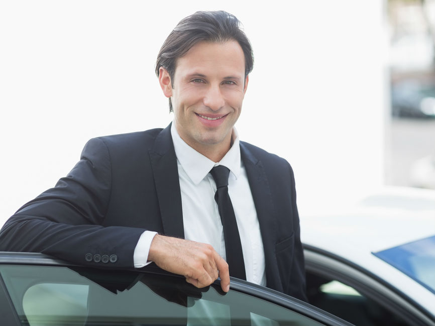Businessman with a car bought on lease purchase