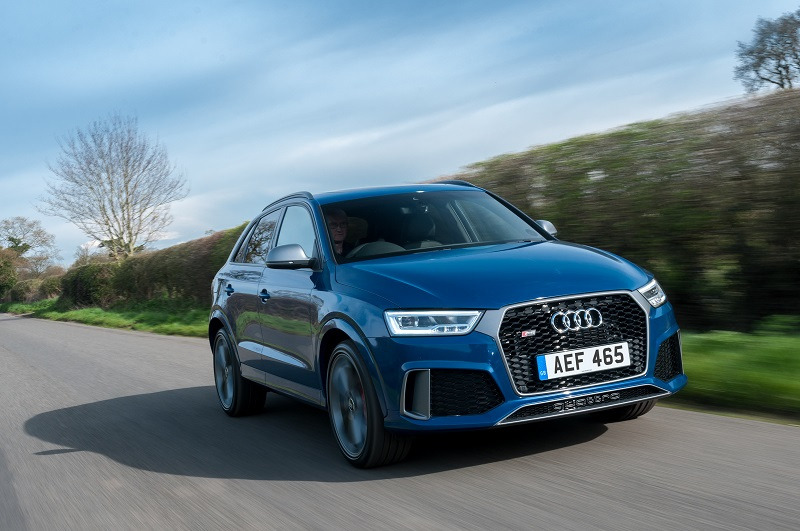 The 167mph Audi RS Q3 Performance distinguished by 'Quattro' badging in the lower grille