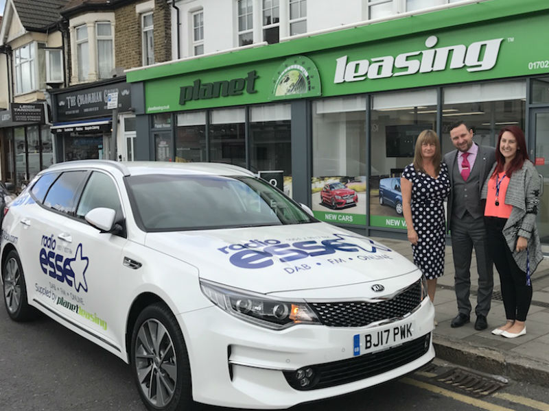Planet Leasing's Gary Rose with Sue Wood (left) and Annie Newman of Radio Essex with the dual branded Kia Optima Sportwagon