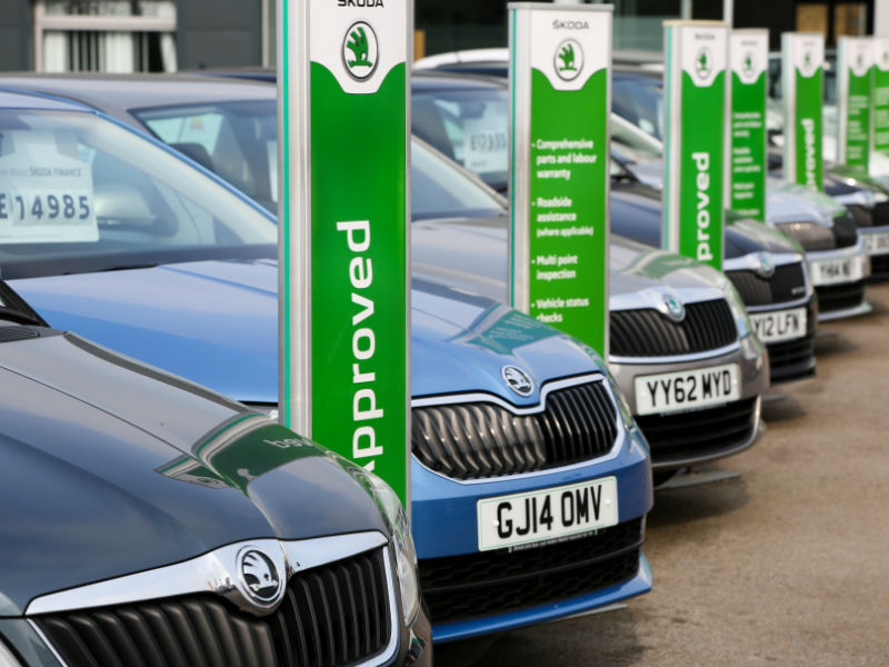 Used car forecourt with a row of approved used Skodas