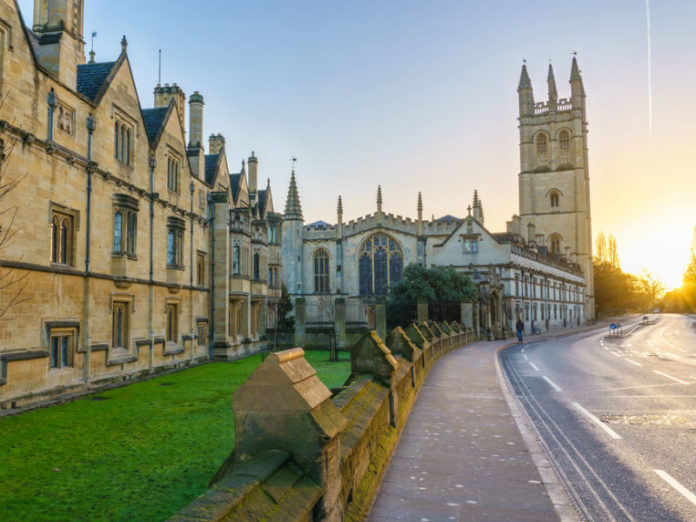 Magdalen College library at sunrise in Oxford England