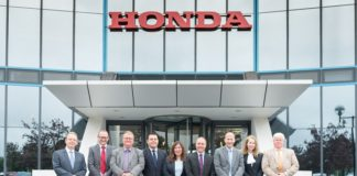 Honda fleet team. Left to right David Jacobs Mark Walton Andy Shields Marc Samuel Jacqui Rowe Kevin Parsons Simon Barrett Angela Hall Chris Valance