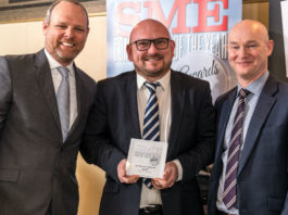 Mark Kinnard, Fleet Programmes Manager at SEAT, receives the Best Value SME Company Car award from Chair of the Judges Paul Hollick (left) and award sponsor David Blackmore of Fleet Alliance at the SME Company Car of the Year Awards 2018