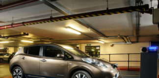 Nissan Leaf in underground car park charging