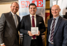 Robert Morris, National Fleet Operations Manager at Mercedes-Benz, receives the Best Director's SME Company Car award from chair of the judges Paul Hollick (left) and award sponsor David Blackmore of Fleet Alliance at the SME Company Car of the Year Awards 2018