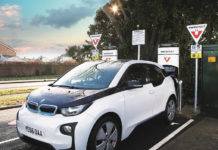 BMW i3 using an InstaVolt rapid charger which will be free to use during May