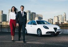 Woman and man with Alfa Romeo