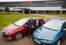 Alan Barrett, Manager Public Sector and Fleet Development for Toyota (GB) hands over the vehicles to Jim Gregory Strategic Fleet Manager for Defra Group Fleet Services