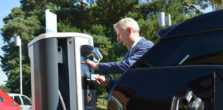 Edmund King and Chargemaster rapid charger and i3