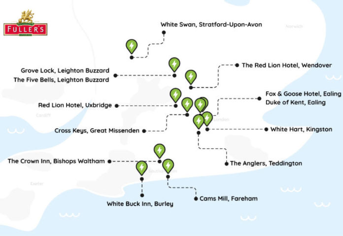 Fullers map of Pod Point chargepoint installs
