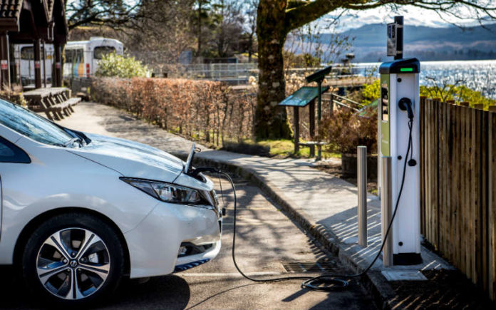 Nissan Leaf electric vehicle at charging point