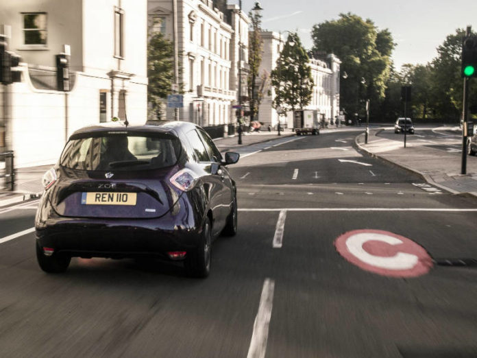 Renault Zoe electric car driving in London