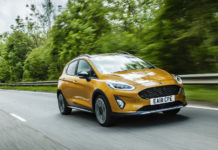 Ford Fiesta Active front three quarters action