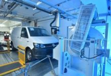 A Transporter in the new 6m euro VWCV WLTP emissions test centre